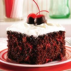 Last Minute Black Forest Cake. My changes; use two eggs instead of egg whites. You can also add one bag of chocolate chips, if desired. Bake as directed. When cooled, add another can of cherries to the top of cake. Take one can of store bought frosting and microwave at 30 second intervals until it reaches a pourable consistency. Drizzle over top of cherries and refrigerate until ready to serve.  Easy Peasy!