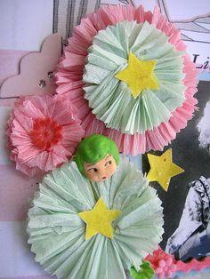 Cute accordian folded tissue paper wheels