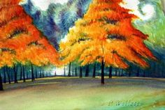 Fall Trees Watercolor on Paper  pwillett.com