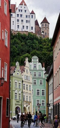 Old Town of Landshut with Trausnitz Castle in the Background, Germany by Helmut Reichelt