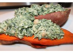 Baked Sweet Potatoes with Spinach & Chickpeas {Healthy Recipe}