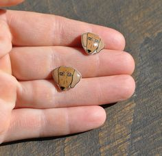 Dachshund Dog Face Resin Earrings by yayhooray on Etsy, $10.00