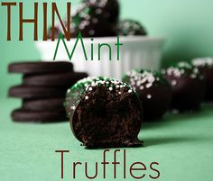 Thin Mint Truffles ~ box of thin mints, cream cheese, dark chocolate candy melts ~ yum! I  like this version from confessionsofacookbookqueen.com way better ~CP