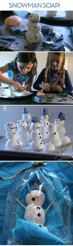 Snowman Soap DIY by Brenda Ponnay for @Alpha Mom (TM)