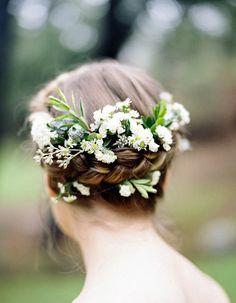 Bridal hair updo: braid and flowers