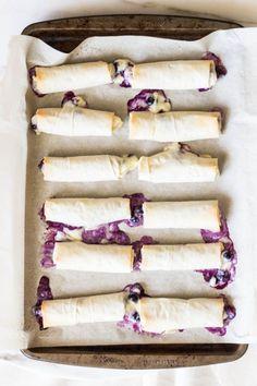 blueberry lemon cheesecake phyllo rolls