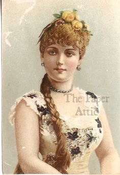 Pretty Victorian Woman with Braid Antique French Chromo Illustration