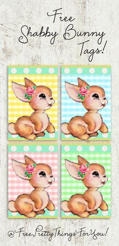 Printable Gift Tags: Free Shabby Bunny Tags!