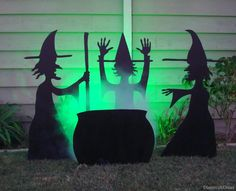 halloween decorations, silhouett, halloween witches, wood projects, yard decorations, front yards, paint, bubbl, witches brew