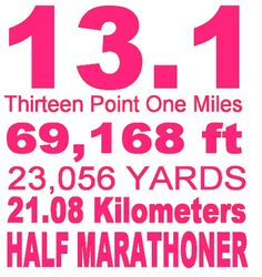 Half Marathon - I'm going to give it a try.  I can't wait to start training.  This will be a new challenge for me!