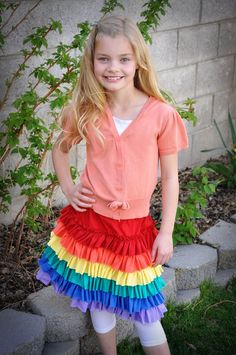 cotton jersey, rainbow skirt, rainbows, skirt idea, rainbow parti, rainbow birthday, ruffl rainbow, birthday skirt, ruffles