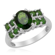 Liquidation Channel:  Russian Diopside Ring in Platinum Overlay Sterling Silver (Nickel Free)
