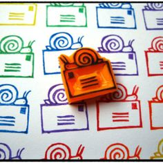 Cute idea- use the same stamp, but in a rainbow of colors!