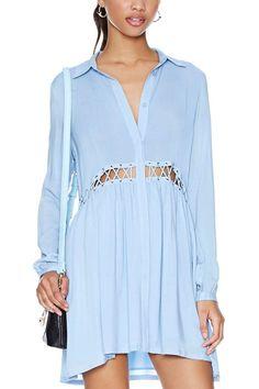 Light Blue Cutout Long Sleeve Casual Dress