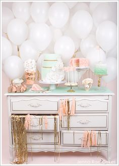 pink and mint dessert table