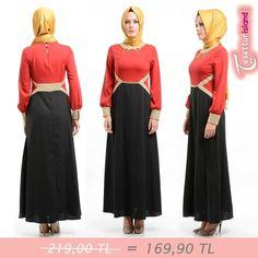 Nominal - Zincir Detaylı Kırmızı/Siyah Elbise 219 TL yerine TAM 169 TL! Bu fırsatı kaçırmayın! #hijab #tesettür #hijabfashion #blak #red #dress www.tesetturisland.com Ürün Kodu:97323-01KS