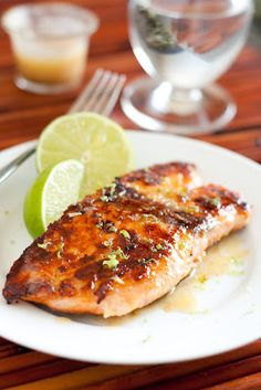 Honey Glazed Salmon topped with Browned Butter Lime Sauce | http://www.cookingclassy.com/