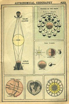 Astronomical Charts. Lunar Solar Eclipse, Moon Phases, Tides, 1902