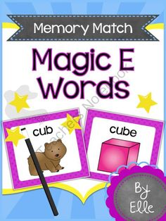 Magic E Words Memory Match Language Arts Mini-Center from Elementary Elle on TeachersNotebook.com -  (12 pages)  - Magic E Words Memory Match Language Arts Mini-Center! This fun and colorful memory match card game will help your students practice reading and spelling common CVC and CVCE words in an engaging way!