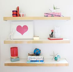 DIY Ikea Hack Floating Shelves Color Block | A Bubbly Life: DIY Ikea Hack Floating Shelves Color Block