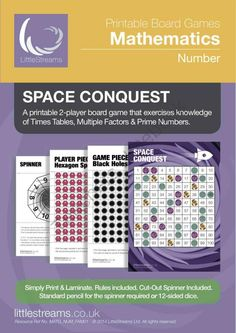 Free Printable Board Game on Factors, Multiples & Primes! Enter for your chance to win 1 of 10.  Space Conquest | Board Game for Times Tables, Multiples and Prime Numbers (15 pages) from LittleStreams on TeachersNotebook.com (Ends on on 10-27-2014)  Space Conquest is a board game that requires thought. On a 10 x 10 board, gamers place spaceships on every multiple of a number that is spun, but watch out for Black Holes! This game raises awareness of common factors, multiples and ...