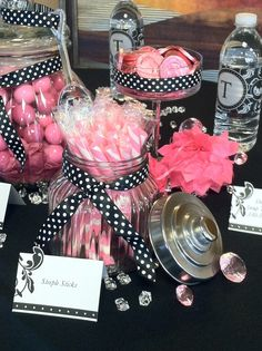 candy buffet, black and pink party, bachelorette parties, candies, black and pink bridal shower, candi buffet, lingerie party, bridal showers, pink parties