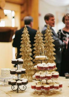 Winter wedding decor and treats. Photo by Bcreative Tulsa. #wedding #cupcake #decor #christmastree #gold