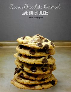 Reese's Chocolate Oatmeal Cake Batter Cookies