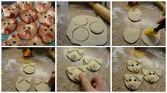 1 can Pillsbury refrigerated crusty French loaf bread, 1 whole egg, peppercorns or raisins, rosemary. Preheat oven to 350. Place some flour on a surface and roll out the dough to desired thickness. Use a biscuit cutter or glass, cut circles in dough for the pig heads. Cut triangles out of the scrap dough for ears. Roll a small piece of dough for the nose and flatten. Lay each pig head on parchment paper lined cookie sheet. In small bowl, whisk egg and lightly brush each pig head.