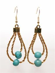 Golden Grass and Blue Acai Earrings - Eco Fashion Eco Friendly jewelry