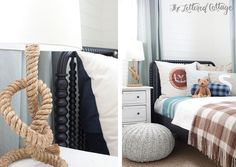 Kids Room | Boys Room | Cable Knit Ottoman and Jenny Lind Bed and Rope Table Lamp from Land Of Nod | Bedding from Schoolhouse Electric