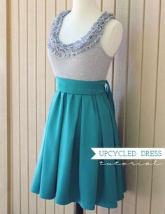 upcycled ruffled dress #tutorial #sewing #upcycle #DIY #dress #sewing