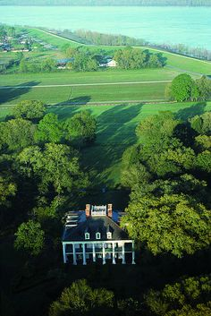 Aerial view of The Oak Alley Plantation by New Orleans Plantation Country, via Flickr