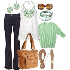 Mint Cardigan, White Lace & Flared Navy Jeans Ensemble mints, outfits, mint green, casual outfit, fashion, cloth, style, colors, mint tea