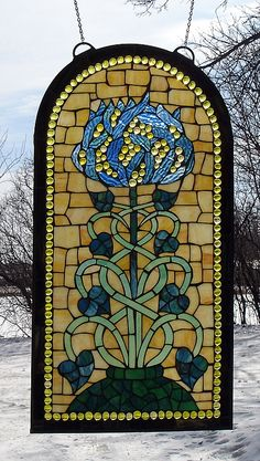Pompeii Flower Arched Stained Glass Window Panel