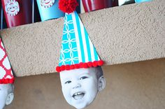 Cute Idea of face bunting and metal buckets