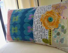 sew, craft, garden collag, collag pillow, vintage, bark cloth, gardens, collages, pillows