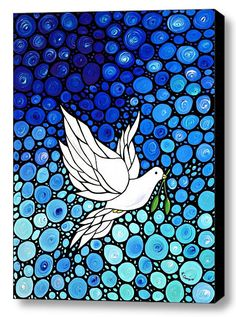 Peaceful Dove Art Print from Painting Flowers Blue Doves White CANVAS Ready To Hang Large Artwork FREE Shipping S/H via Etsy
