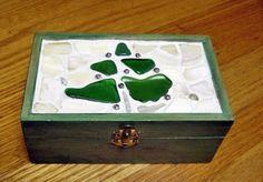 Sea Glass seaglass craft box, memory keep sake, holiday crafts, Christmas tree, gift idea, green