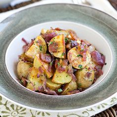 Warm, Roasted Baby Potato Salad with Crispy Bacon, Caramelized Red Onion and Warm Bacon Vinaigrette