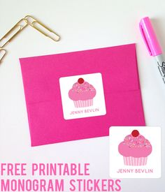 Free Cupcake Printable Monogram Stickers from printablemonogram.com