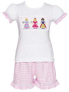 Anavini Girls Pink Striped Shorts with Smocked Princess Top
