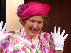 """Patricia Routledge as Hyacinth Bucket (it's pronounced """"bouquet"""")"""