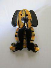 VTG Lea Stein Plouc the Dog Brooch Tortoise & Black