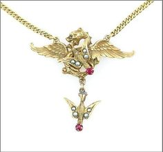 Victorian Gold Dragon and Bird Necklace from adorn on Ruby Lane