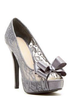 Grey lace pumps