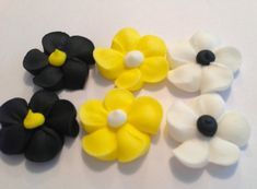 Royal Icing Flowers  for Cake Decorating Lot of 150 great for bumble bee party
