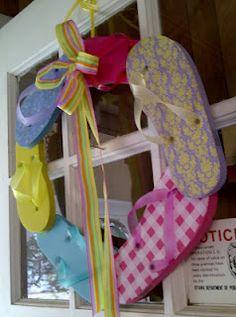 pool parties, craft, back doors, beach houses, front doors, flip flops, summer fun, flop wreath, summer wreath