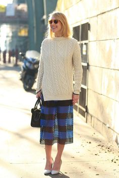 chunky knit, perforated skirt (Marc Jacobs). that works. London.