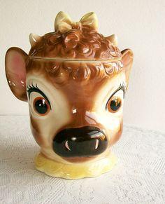 Vintage Cookie Jar Metlox Elsie the Cow California Pottery 1950s